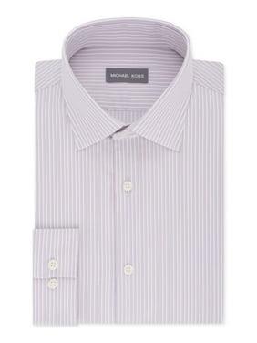 Mens Dress Shirt Pinstriped Button Front 17 1/2