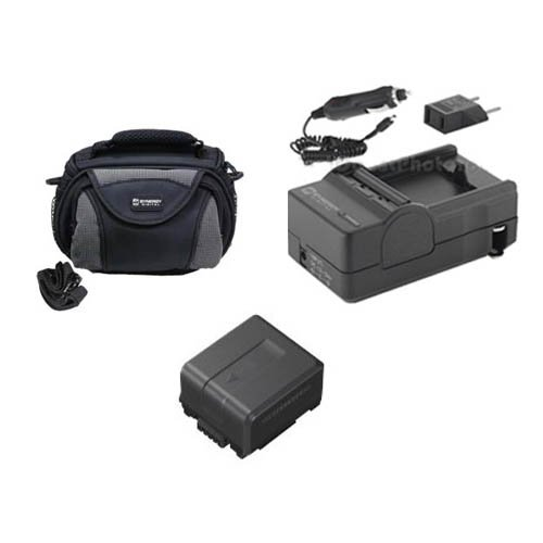 Panasonic WP10 Camcorder Accessory Kit includes: SDM-130 Charger, SDVWVBG130 Battery, SDC-26 Case