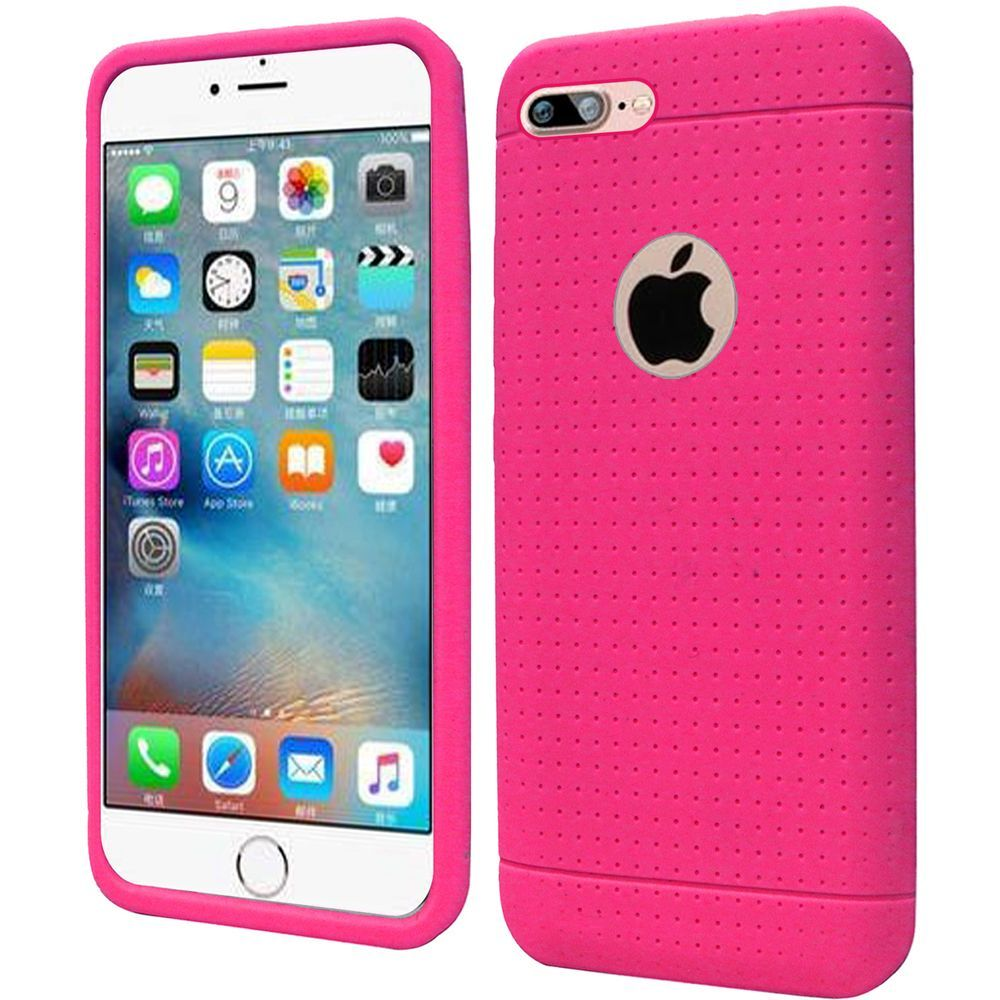 iPhone 8 Plus Case, iPhone 7 Plus Case, by Insten Rugged Soft Rubber Cover Case for Apple iPhone 8 Plus / iPhone 7 Plus - Hot Pink