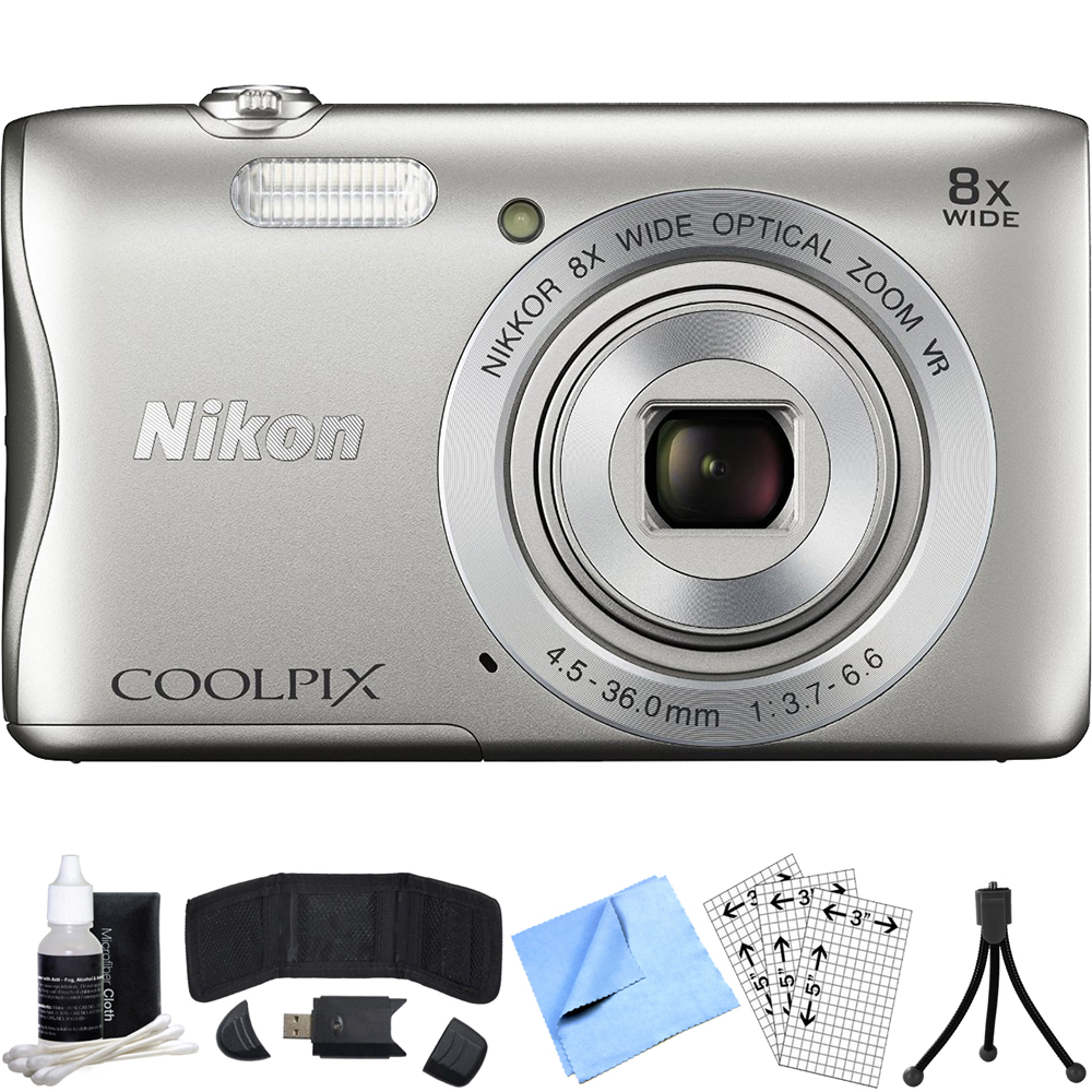 Nikon COOLPIX S3700 20.1MP Digital Camera Refurbished Bundle includes  COOLPIX S3700, Card Reader, Mini Tripod, Screen Protectors, 3 Piece Cleaning Kit, Memory Card Wallet and Beach Camera Cloth
