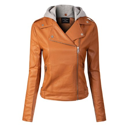 Made by Olivia Women's Zipper Closure Moto Biker Faux Leather Detachable Hood Jacket Cognac (Womens Brown Leather Bomber Jacket With Hood)