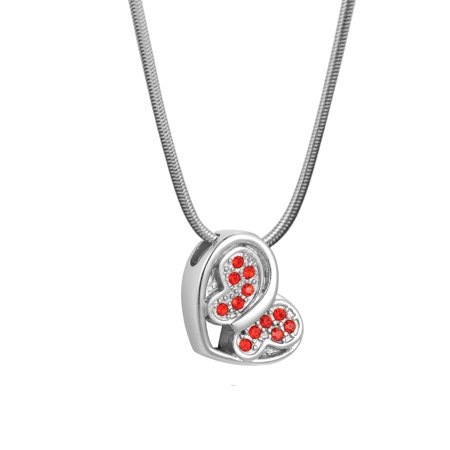 Anavia Loving Butterfly Red Crystal Cremation Jewelry Memorial Necklace Ash Urn Keepsake with Gift - Lead Crystal Urn