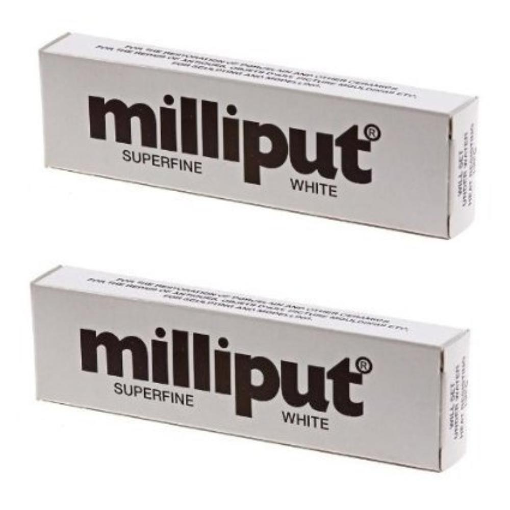 2 x Superfine 2-Part Self Hardening Putty, White, Pack of 2 By Milliput