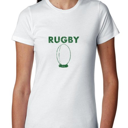Simple Rugby Ball on Tee Graphic Design Women's Cotton T-Shirt