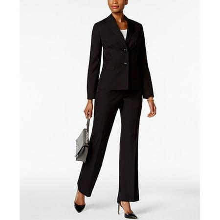 - Le Suit NEW Black Womens Size 16 Tonal Pinstriped Two-Button Pant Suit