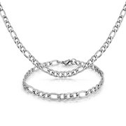 Light Weight 5MM Silver Tone Stainless Steel Necklace Bracelet Set Figaro Link Chain For Men For Teen