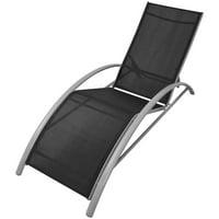 vidaXL Sun Lounger Aluminium Black