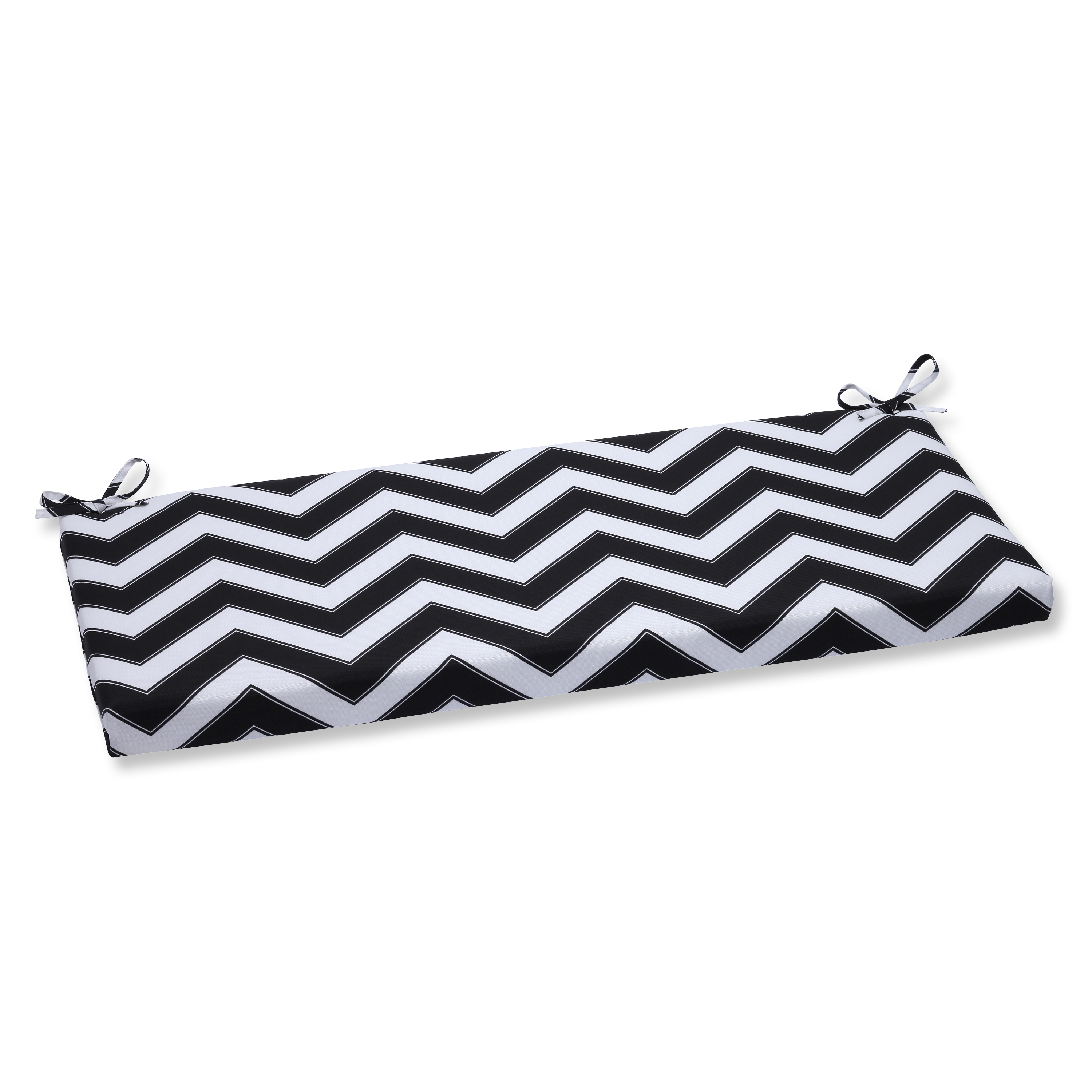 Pillow Perfect Outdoor/ Indoor Chevron Black/White Bench Cushion