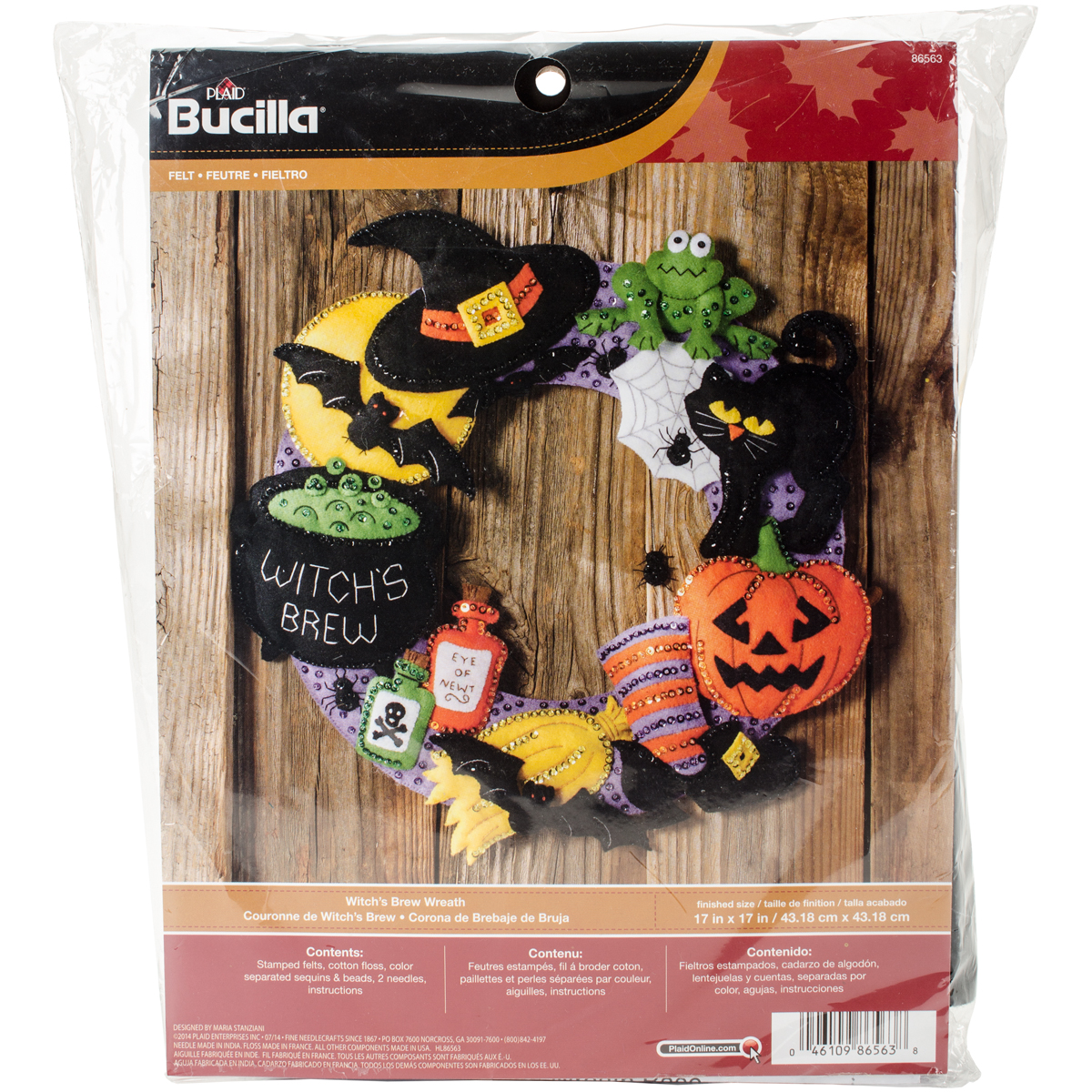 "Witch's Brew Wreath Felt Applique Kit, 17"" Round"