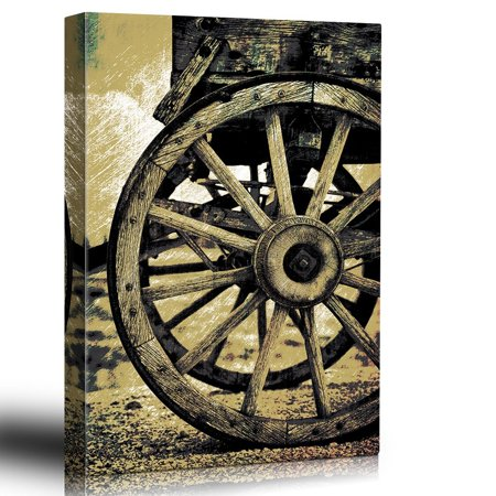 wall26 - Illustrated wagonwheel - Scratchboard Antique Americana - Wood Grain - Images from The Old West - Sepia Tone Artwork - Canvas Art Home Decor - 32x48 inches - Old West Decor