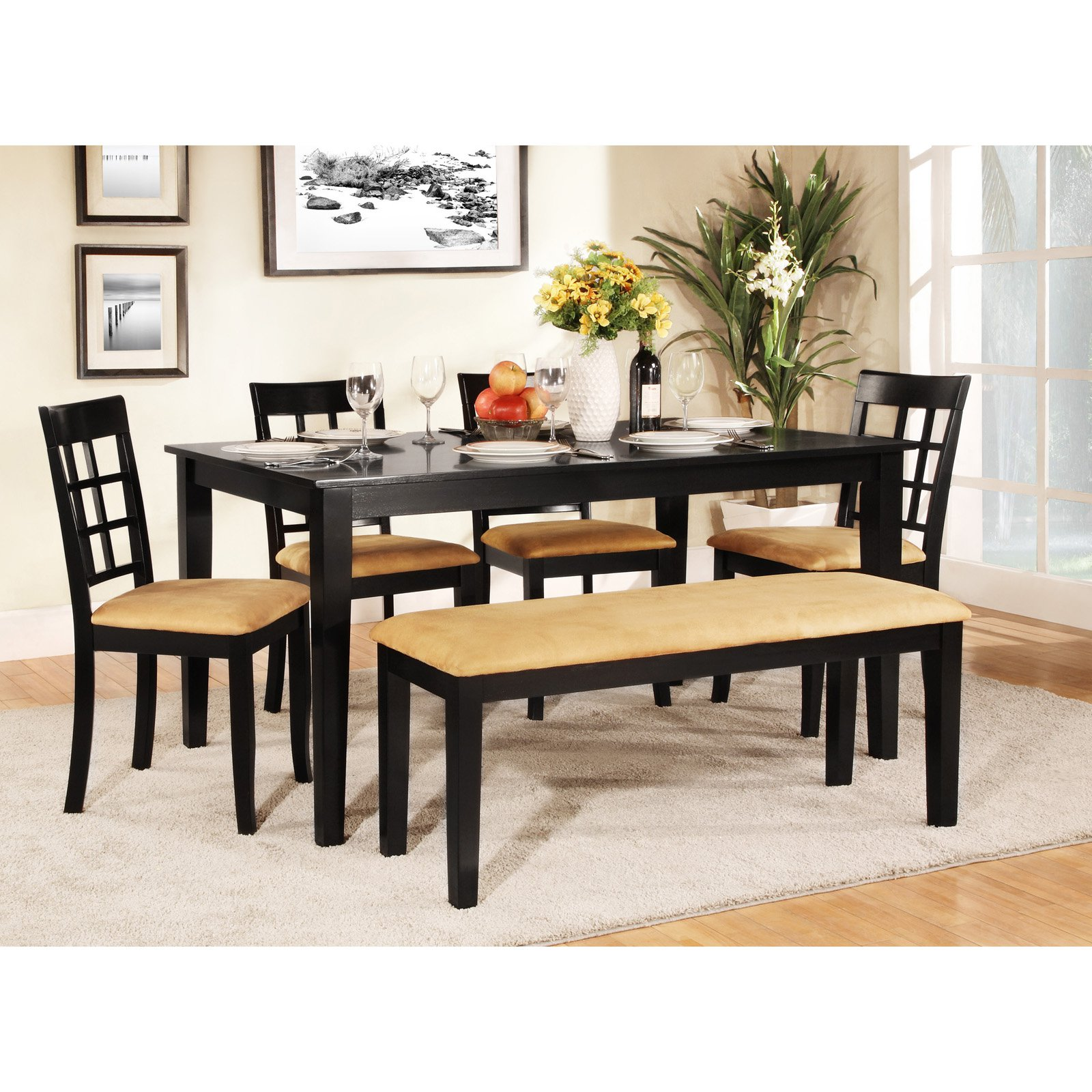 Homelegance Tibalt 6 pc. Rectangle Black Dining Table Set - 60 in. with Window Back Chairs & Bench