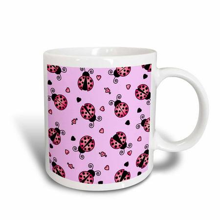 3dRose Love Bugs Pink Ladybug Print with Hearts - Ceramic Mug, -
