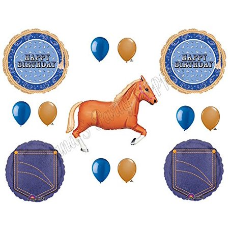 BLUE BANDANA TAN HORSE HAPPY Birthday Party Balloons Decoration Supplies Cowboy western rodeo - Horse Birthday