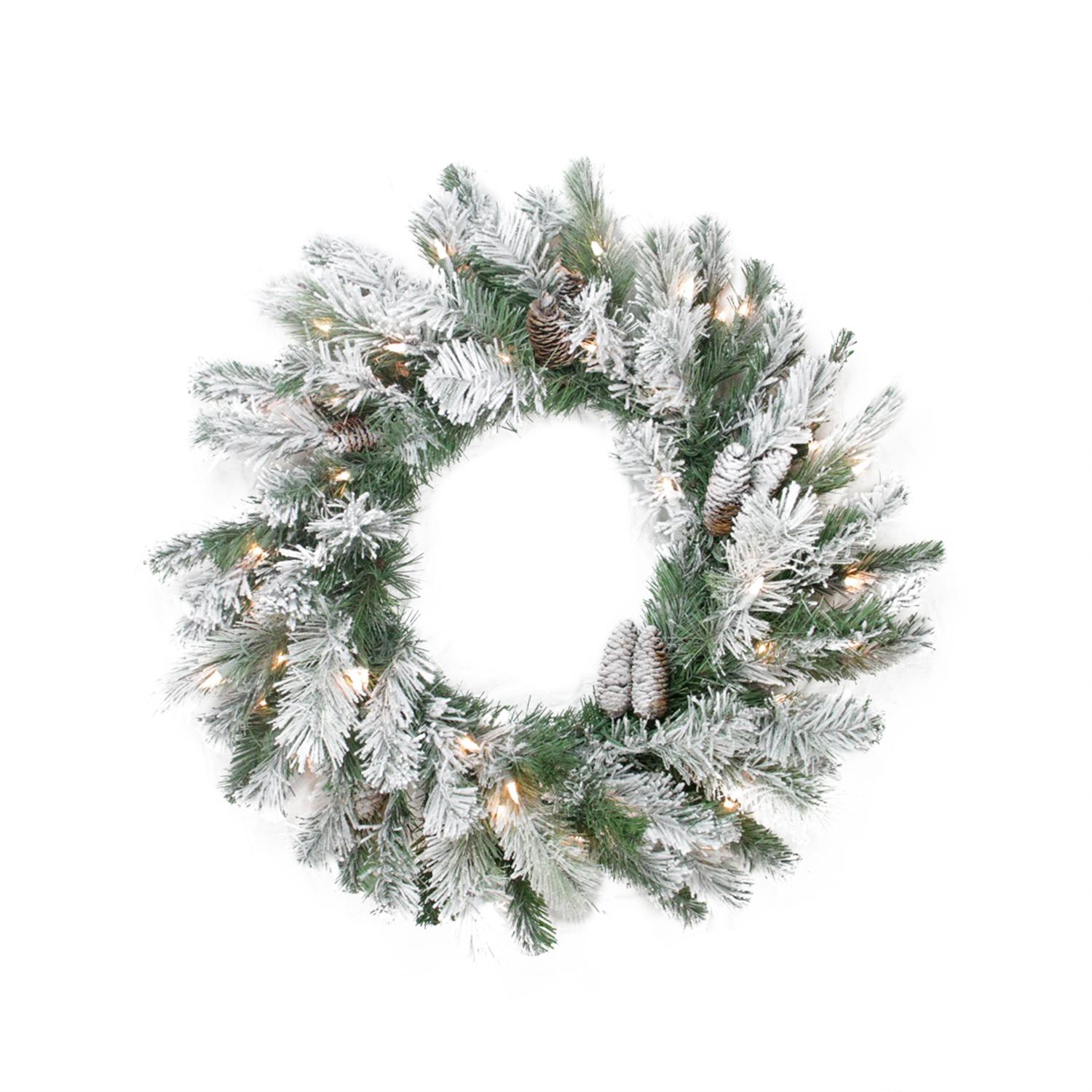 """Northlight 30"""" Prelit Flocked Victoria Pine Artificial Christmas Wreath - Clear Lights"""