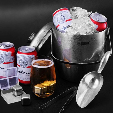 VIVOHOME 3Quart Stainless Steel Doule Wall Insulated Ice Bucket Set with Lid Tongs Scoop and 4 Reusable Ice Cubes Silver