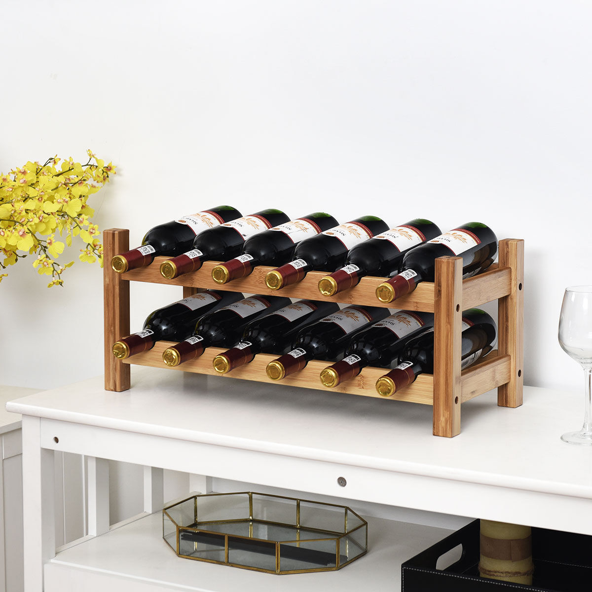 "GHP 23.5""x9.5""x10"" Natural Bamboo 2-Tier Kitchen 12-Bottles Wine Storage Display Rack"