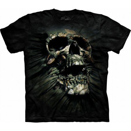 Black 100% Cotton Breakthrough Skull Novelty T-Shirt