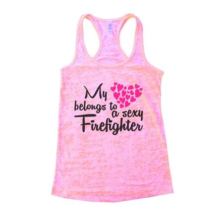 Womens Burnout Tank Top My Heart Belongs To a Firefighter Gift Shirt Funny Threadz Large, Light (My Heart Belongs To A Firefighter Shirt)