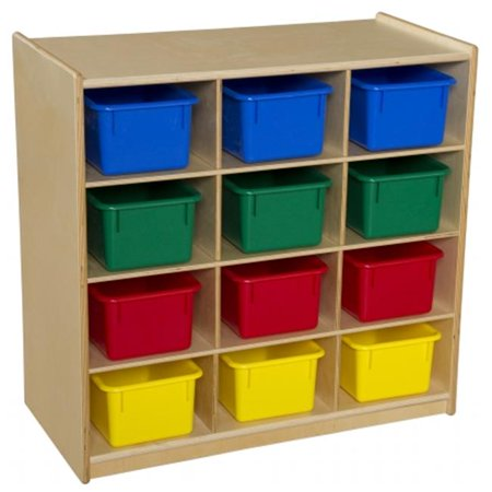Contender C16123AP Baltic Birch 12-Cubby Storage Unit With Assorted Pastel Trays - RTA