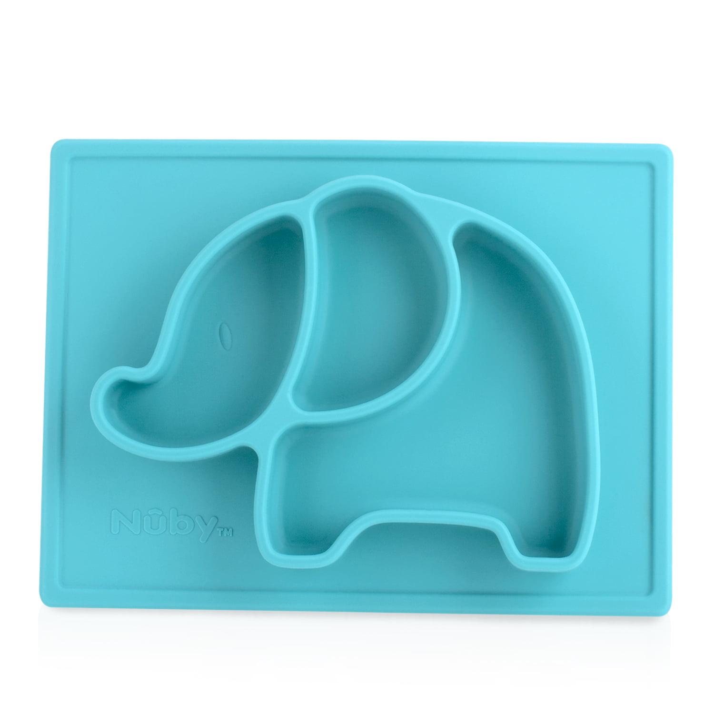 Nuby Sure Grip Animal Placemat, Aqua Elephant