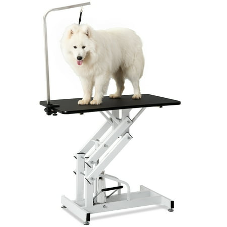 Pet Grooming Table, Professional Dog Grooming Table with Adjustable Arm & Noose, Heavy Duty Z-Lift Hydraulic Grooming Table for Small/Medium/Large Dogs Cats, Maximum Capacity Up to 330lbs, I9409