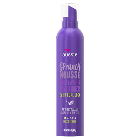 (2 pack) Aussie Sprunch Mousse & Leave-In Conditioner w/ Jojoba & Sea Kelp For Curly Hair, 6.8