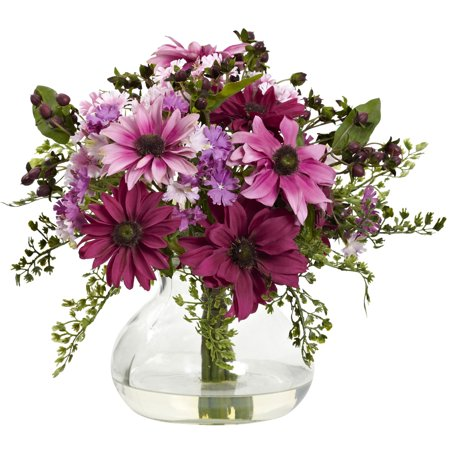 Mixed Vase Arrangement (Nearly Natural Mixed Daisy Floral Arrangement with)