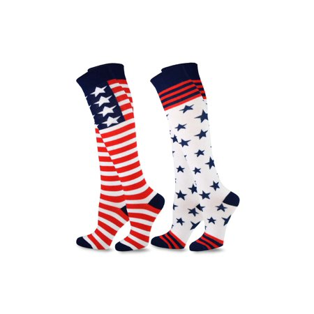 TeeHee Women Novelty Fashion Americana Knee High Socks 2 Pair