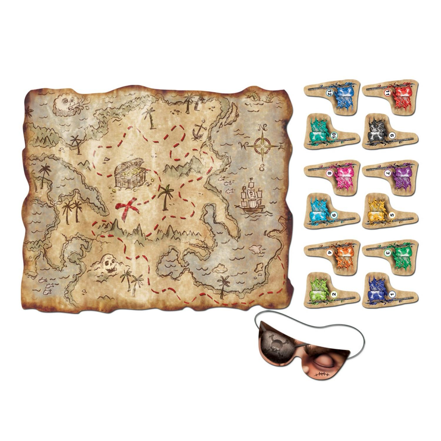 Club Pack of 24 Pin the flag on the Treasure Map Party Game