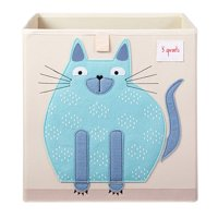 3 Sprouts Children's Foldable Fabric Storage Cube Box Soft Toy Bin, Blue Cat