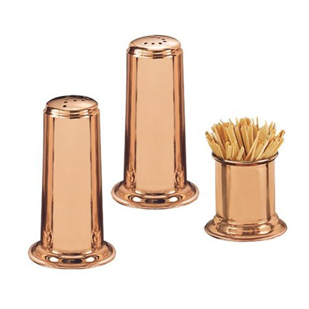 Old Dutch 4H in. Solid Copper Salt and Pepper Set with 2H in. Toothpick Holder
