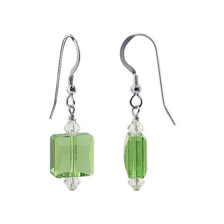 Gem Avenue 925 Sterling Silver Square Shape Green Crystal Drop Earrings