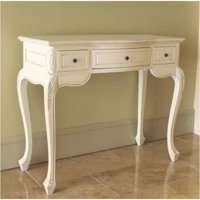 Pemberly Row Antique White Hand Carved Vanity Desk