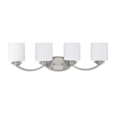 White Transitional Four Light (CHLOE Lighting PRUDENCE Transitional 4 Light Brushed Nickel Bath Vanity Wall Fixture White Etched Glass 31
