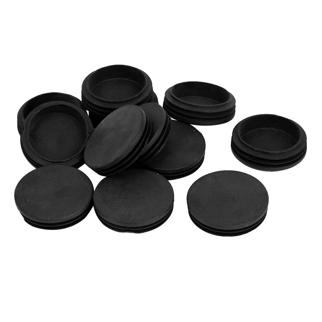 63mm Outer Dia Plastic Round Tubing Tube Insert Blanking End Caps Black 12Pcs