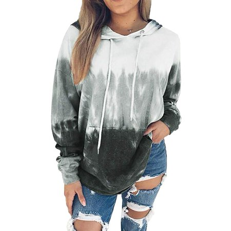 Women Tie Dye Printed Long Sleeve Drawstring Pullover Sweatshirts With Pocket Women Tye Dye