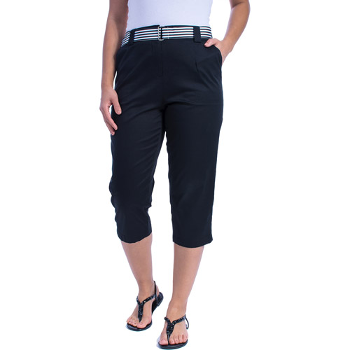 White Stag Woven Belted Capri Pants - Walmart.com