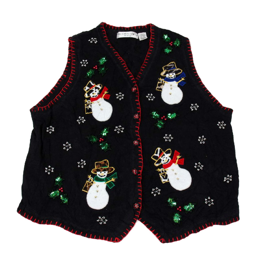BuyYourTies - XVEST-3131 - Black  - Ugly Christmas Sweater Vest - Ladies - X-Large