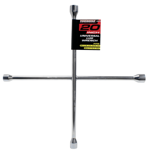 Powerbuilt 940559 20 Inch Four-Way Universal Lug Wrench - Chrome Plated