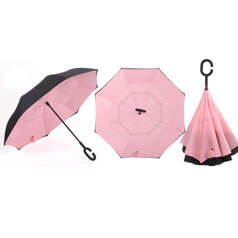 Flip-flops Design On Black Background Reverse Umbrella Double Layer Inverted Umbrellas For Car Rain Outdoor With C-Shaped Handle Customized