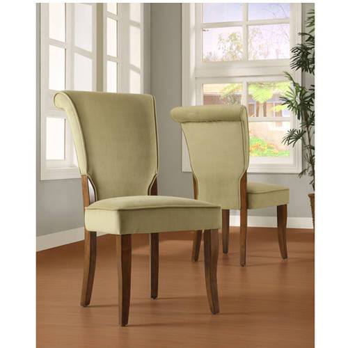 Homelegance Olive Velvet Parsons Side Dining Chair, Set of 2, Brown Finish