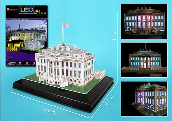 White House 3D Puzzle With Base & Lights by