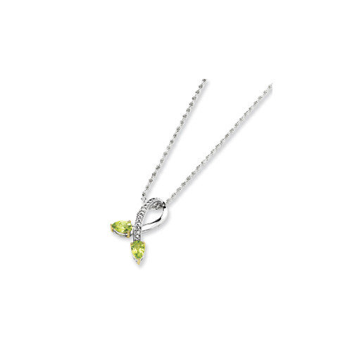 Jewelryweb Sterling Silver and 14K Peridot Diamond Necklace - 18 Inch
