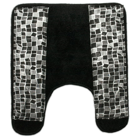 Popular Bath Mosaic Stone Black Bath Collection Bathroom Contour Commode Rug