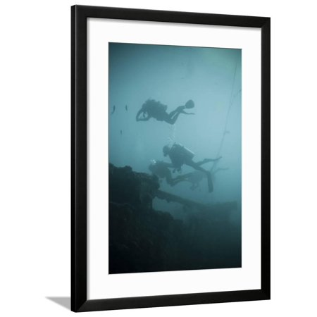 Scuba Divers Wreck Diving, Southern Thailand, Andaman Sea, Indian Ocean, Southeast Asia, Asia Framed Print Wall Art By Andrew Stewart (Indian Ocean Scuba)