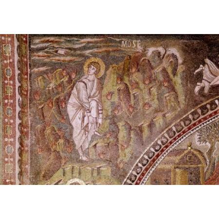 Italy Ravenna Basilica of San Vitale Moses and the Burning Bush Mosaic Canvas Art -  (18 x