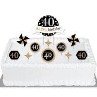 Adult 40th Birthday - Gold - Birthday Party Cake Decorating Kit - Happy Birthday Cake Topper Set - 11 Pieces