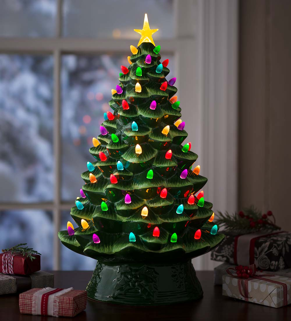 Plow & Hearth Lighted Ceramic Battery Operated Christmas ...