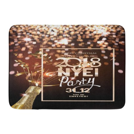 GODPOK Silver Luxury New Year Eve Party with Defocused Lights on The Bottle of Champagne and Serpentine Nye Rug Doormat Bath Mat 23.6x15.7 inch](Nye Party)