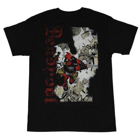 Deadpool (Marvel Comics) Mens T-Shirt - Vertacal Gothic Name Sword Charging Wade Sword S/s Tee